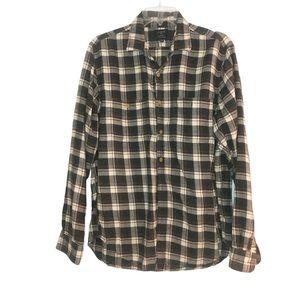 J Crew flannel shirt neutral Plaid button top gray
